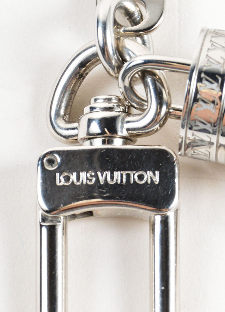 "Louis Vuitton Silver Toned ""LV"" Textured Tube Key Ring Clip Keychain Brand"
