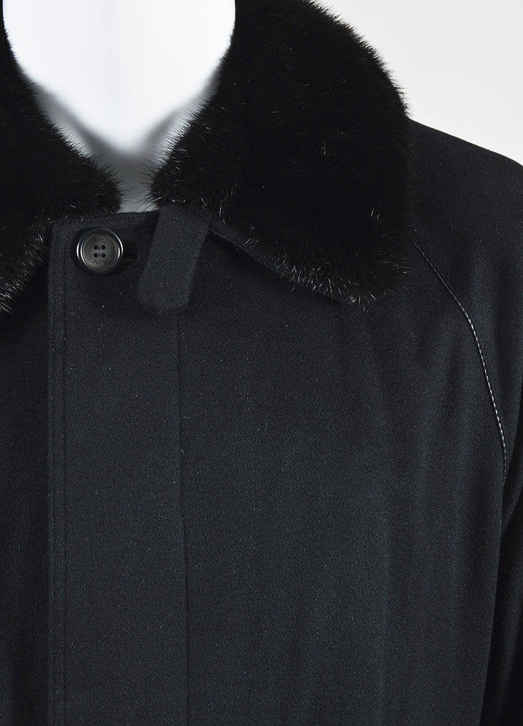 Men's Brioni Black Cashmere Removable Fur Collar Coat Detail