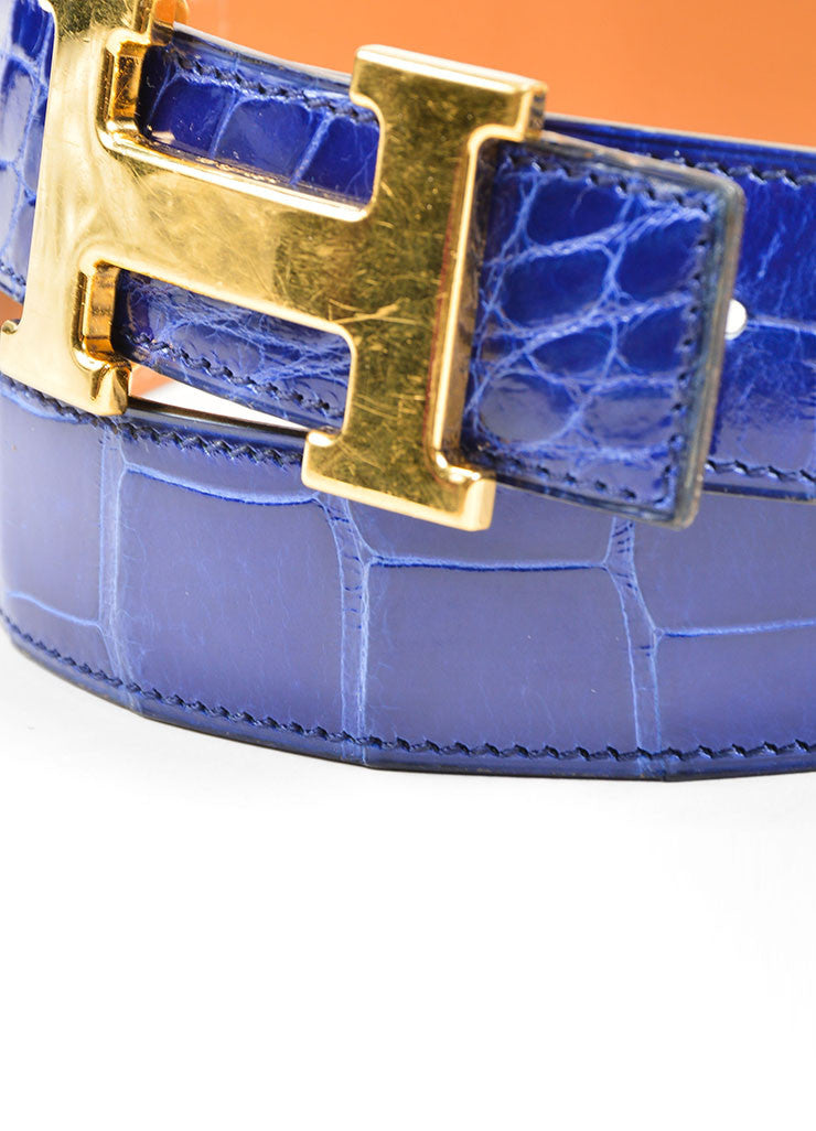 "Men's Gold Toned 'H' Prong Buckle and Blue Alligator Hermes ""Constance"" Belt Detail"