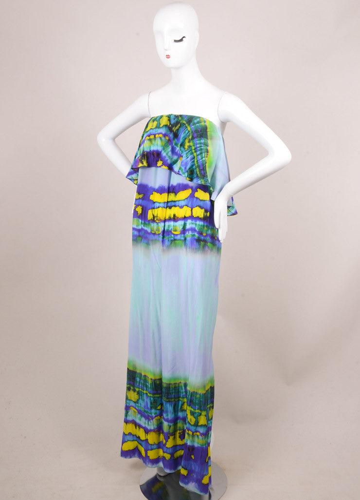 MSGM New With Tags Purple and Yellow Silk Graphic Print Ruffle Strapless Dress Sideview