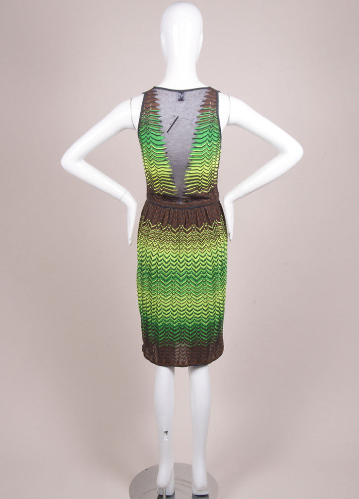 M Missoni New With Tags Green, Yellow, and Brown Knit Woven Chevron Print Mesh Dress Backview
