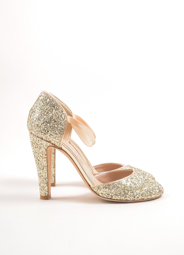 Marc Jacobs Metallic Gold Glitter Mary Jane Pumps Sideview