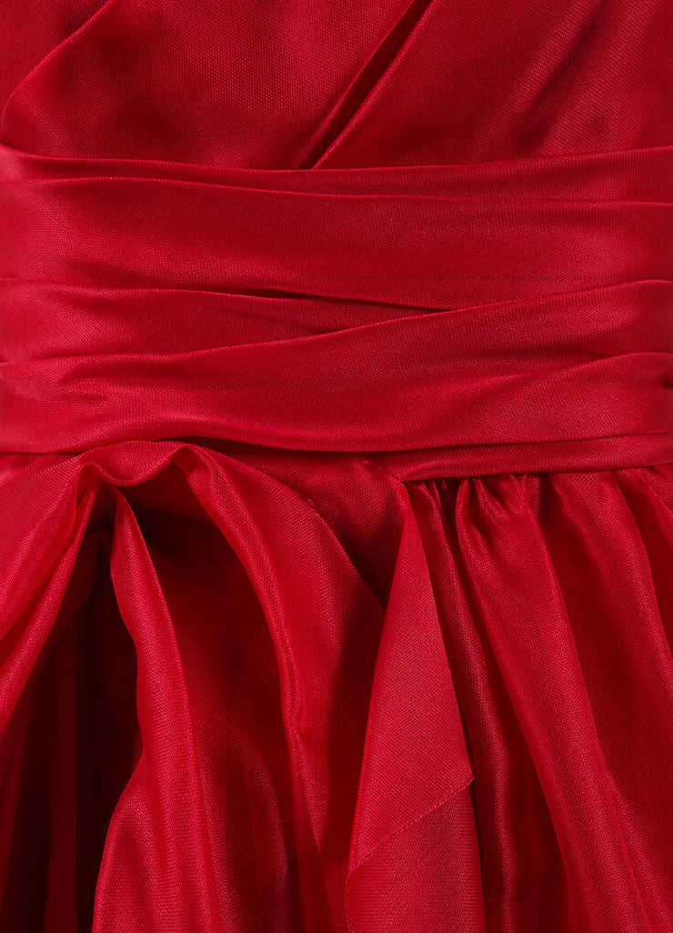 Marchesa Red Silk One Shoulder Draped Full Gown Detail