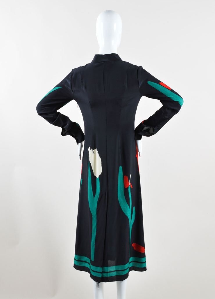 Marni Red, Black, and Green Silk Tulip Print Midi Shirt Dress Backview
