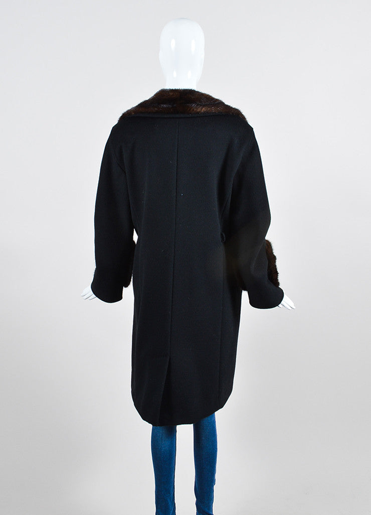 Black and Brown Max Mara Wool and Cashmere Mink Trim Long Coat Backview