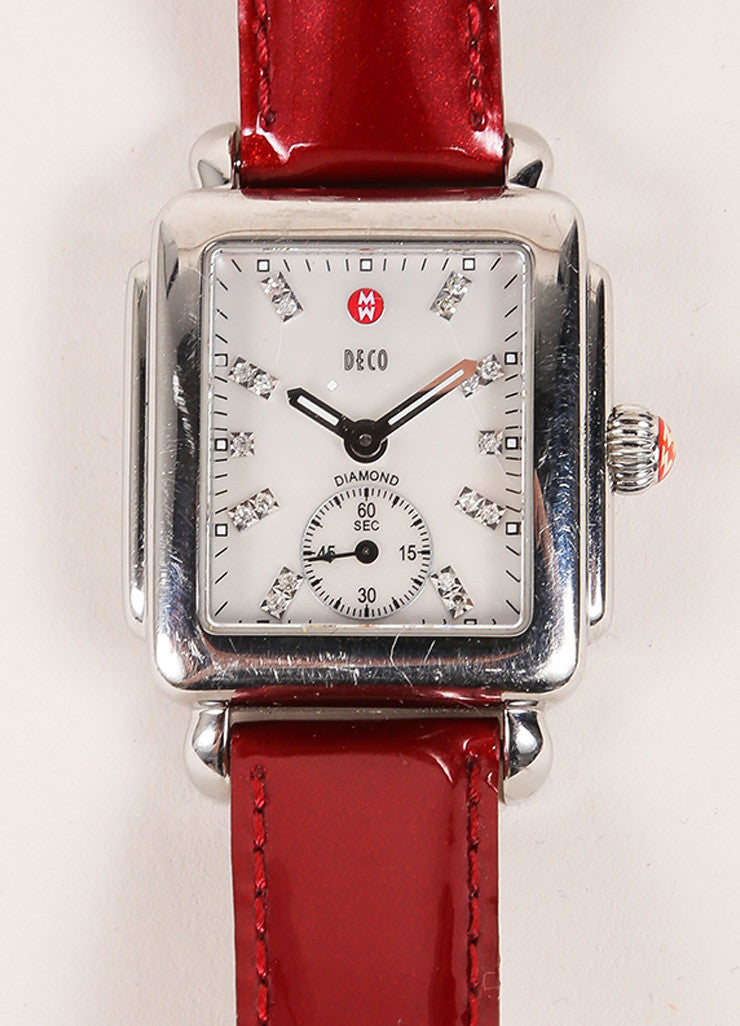 Michele Deco Silver Tone Red Cream Stainless Steel Diamond Interchangeable Watch Case