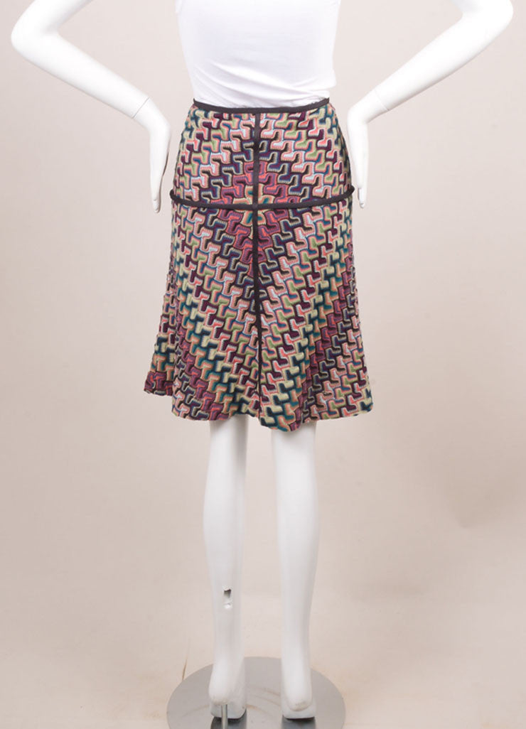 Missoni Grey, Pink, and Blue Knit Woven Print Skirt Backview