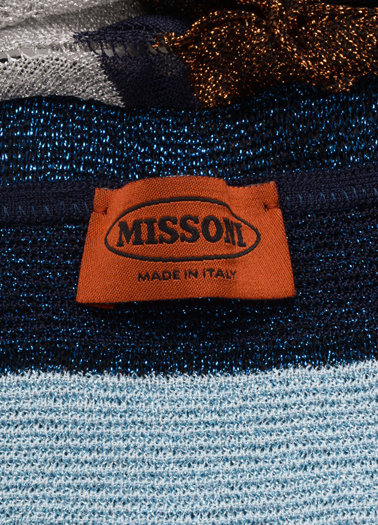 Missoni Silver, Blue, and Bronze Metallic Cropped Halter Top Brand