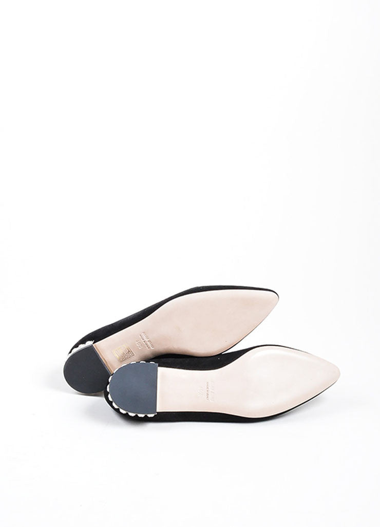 Black Miu Miu Suede Crystal Embellished Point Toe Flats Outsoles