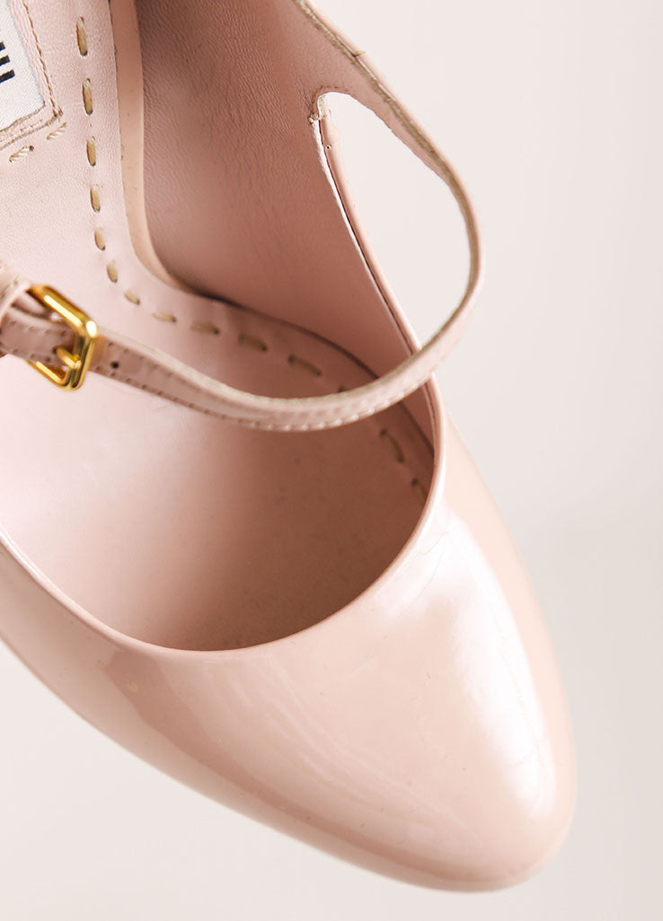 Miu Miu Nude Patent Leather Platform Mary Jane Heels Detail