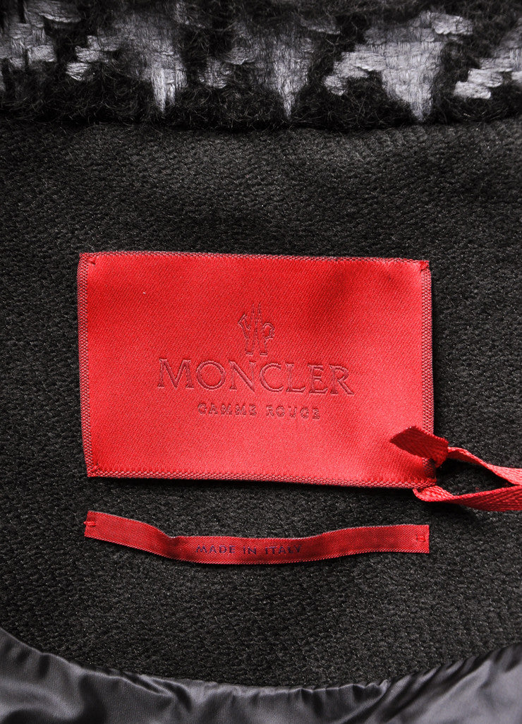 Moncler New With Tags Black and Grey Wool and Mohair Houndstooth Puffer Pea Coat Brand