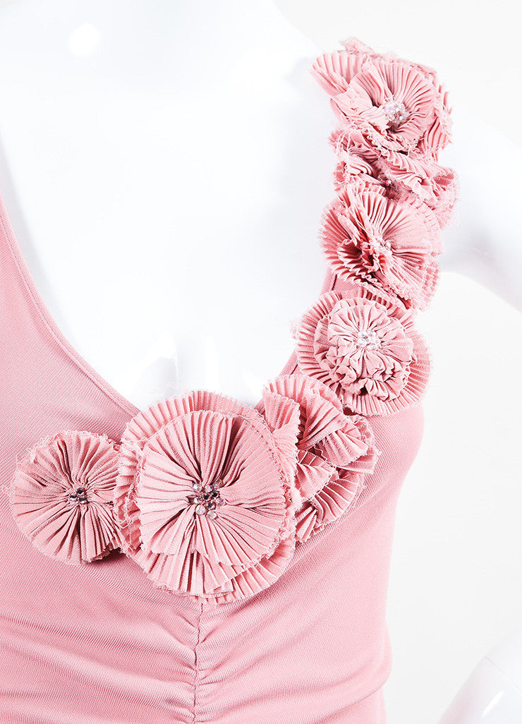 Moschino Cheap and Chic Pink Crepe Rosette Rhinestone Sleeveless Dress Detail