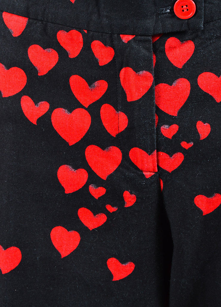 Black and Red Moschino Cheap and Chic Heart Print Cotton Wide Leg Pants Detail