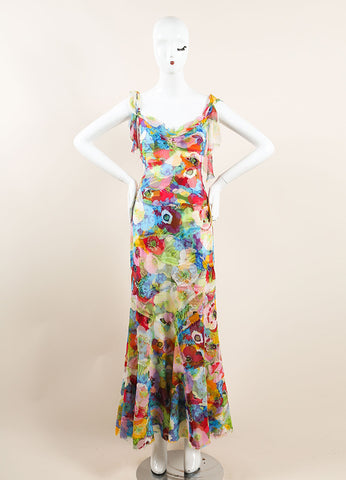 Moschino Multicolor Tropical Floral Print Sleeveless Gown Frontview
