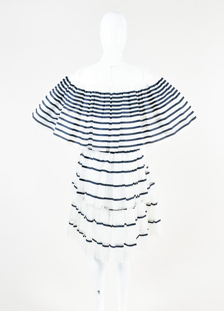 Ms Min White and Navy Silk Organza Striped Tiered Ruffle Short Sleeve Dress Backview