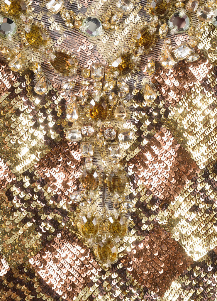 Naeem Khan Gold and Bronze Sequin Embellished and Rhinestone Bib Sleeveless Dress Detail