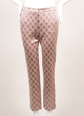 Odeeh New With Tags Purple and Metallic Gold Cotton Blend Diamond Tapered Trousers Frontview