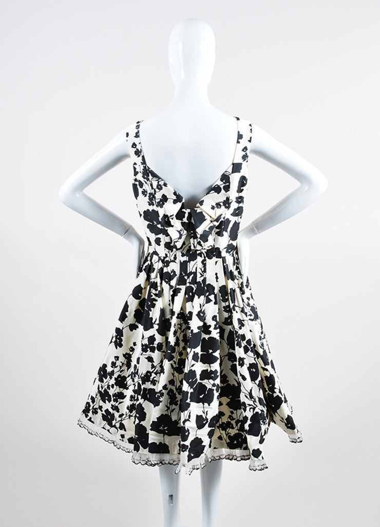 Black White Oscar de la Renta Floral Feather Trim Dress Back