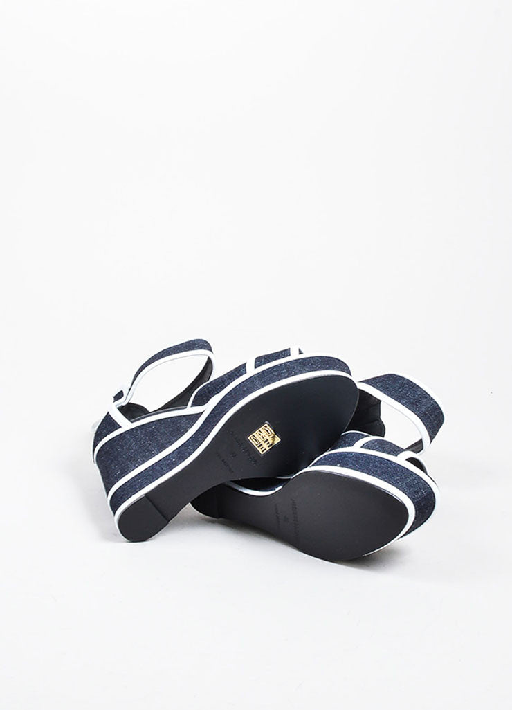 Dark Denim and White Leather Pierre Hardy Platform Wedge Sandals Outsoles