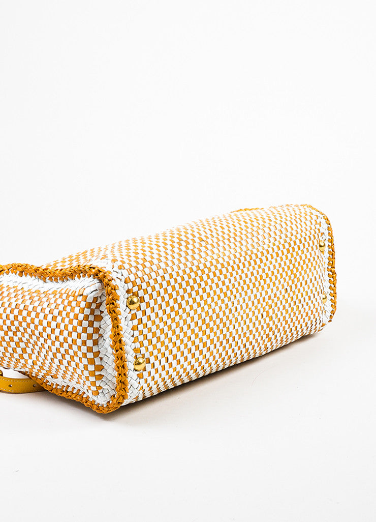 "Prada Yellow and White Leather Woven Crossbody ""Made In"" Madras Tote Bag Bottom View"