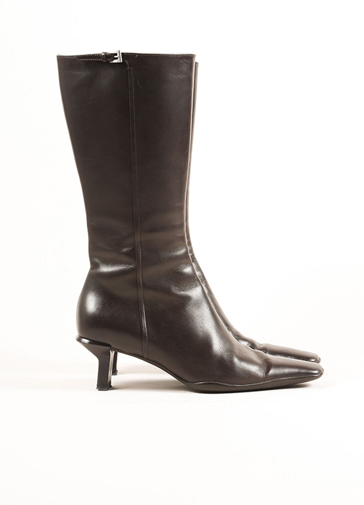 Prada Brown Leather Mid Calf Zipper Low Heel Boots Sideview
