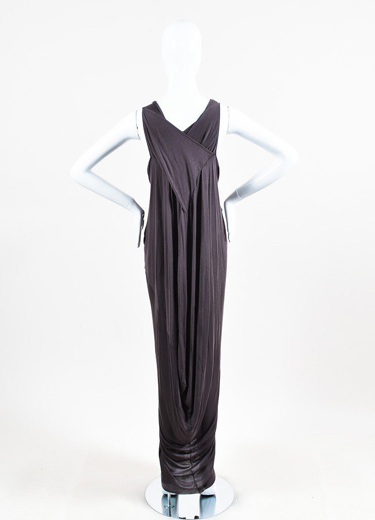 Rick Owens Taupe Silk Blend Knit Sleeveless Gathered Maxi Dress Backview