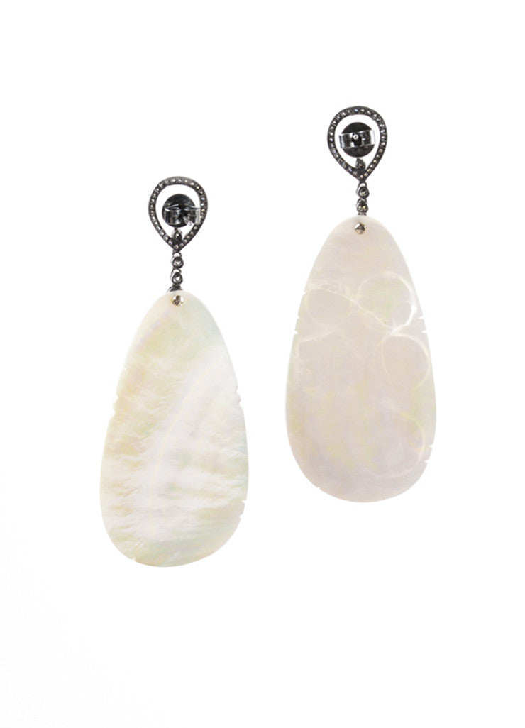 Rina Limor 18K Oxidized Silver Iridescent White River Shell Pave Floral Earrings Backview