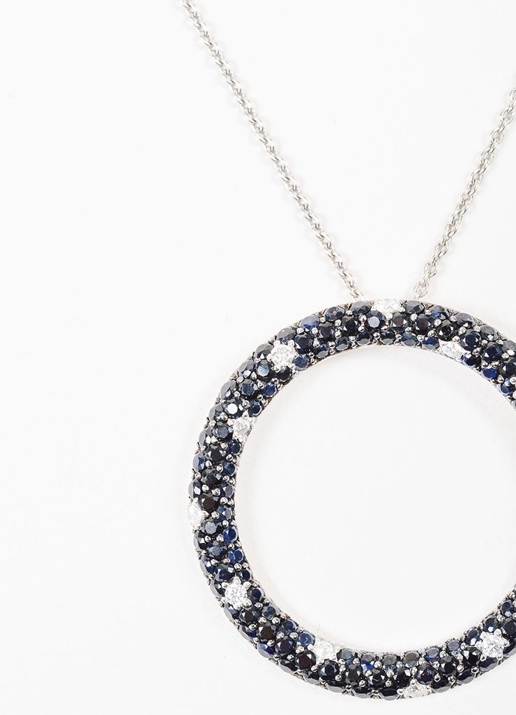 18K White Gold, Black Sapphire, and Diamond Roberto Coin Circle Ring Pendant Necklace Detail 2