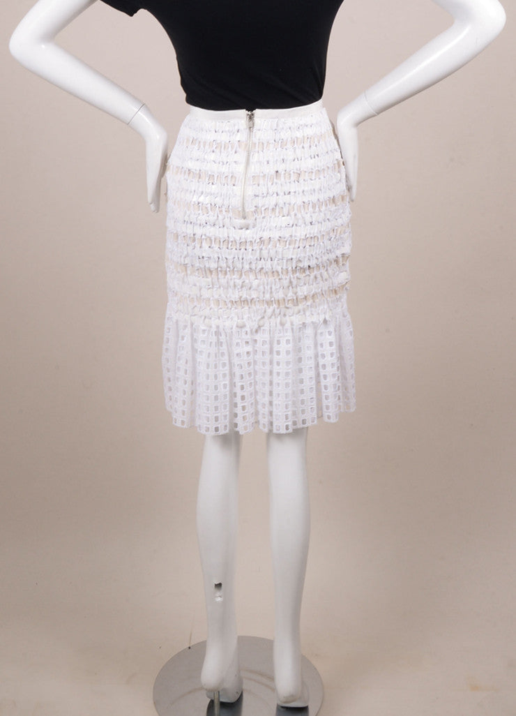 Sacai New With Tags White Cotton Ribbon Woven Pleated Hem Skirt Backview