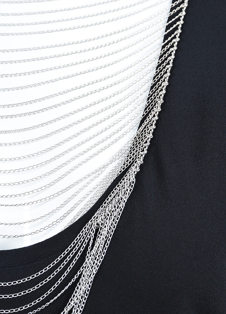 Black Saint Laurent Jersey Chain Detail Sleeveless Boxy Top Detail