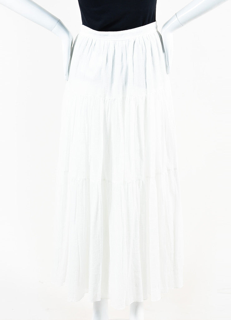 White Saint Laurent Cotton Tiered Midi Length Full Flare Skirt Back