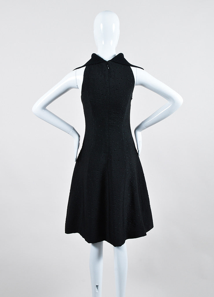 Black Sally Lapointe Textured Silk and Wool Turtleneck Sleeveless Swing Dress Backview