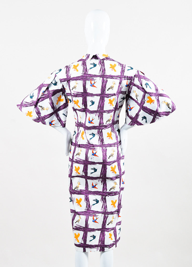 "Stella Jean White and Purple Bird ""Sommelier Chemisier"" Shirt Dress Backview"