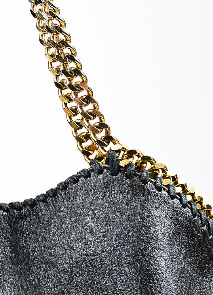"Stella McCartney Black Faux Leather Gold Toned Chain ""Falabella"" Fold Over Bag"