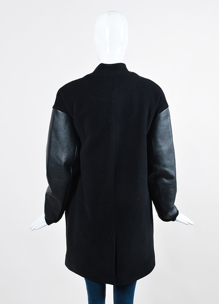 Black ‰ۢÌöÌÛT by Alexander Wang Wool and Leather Long Varsity Bomber Jacket Backview