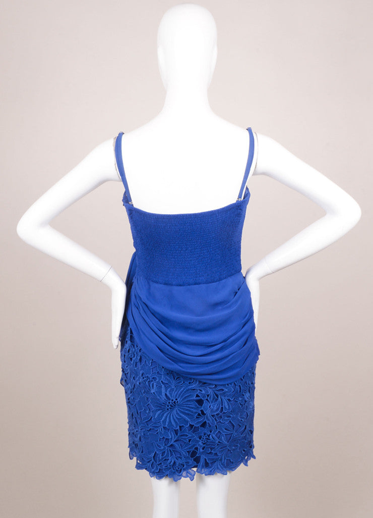 Temperley Blue Silk Lace Ruched Sleeveless Dress Backview