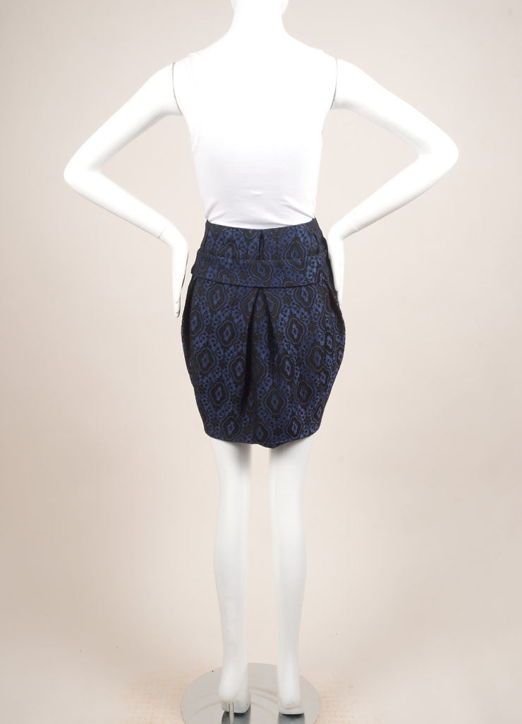 Thakoon Blue and Black Brocade Bubble Skirt Backview