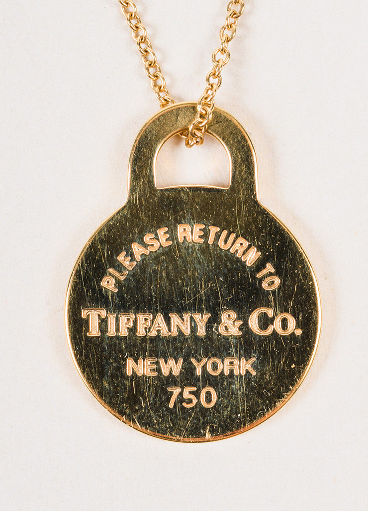 "Tiffany & Co. 18K Yellow Gold ""Return to Tiffany"" Circle Pendant Necklace Detail 2"