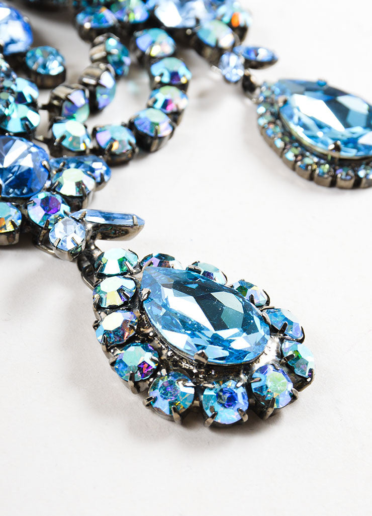 Chrome Toned and Blue Timothy Szlyk Thorin & Co. Rhinestone Necklace Detail 2