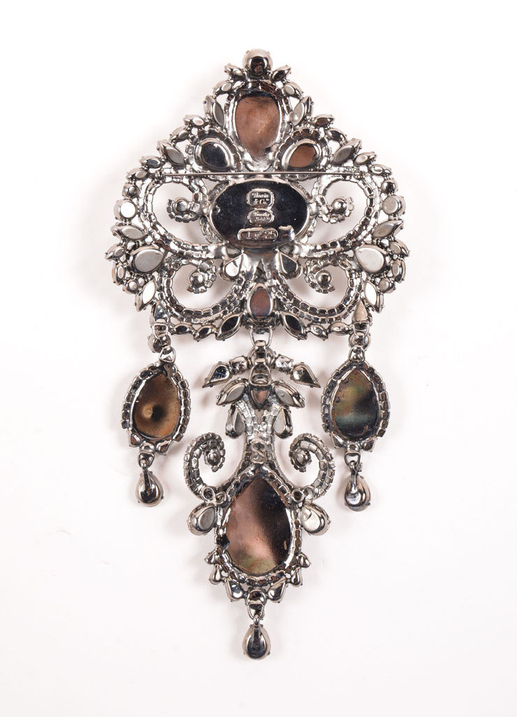 Timothy Szlyk Thorin & Co. Rhinestone and Blue Stone Oversized Ornate Dangle Pin Backview