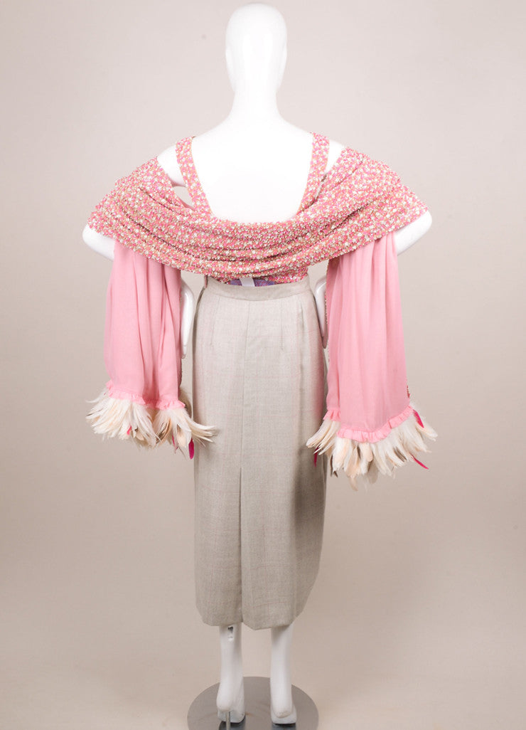 Tuleh Pink and Grey Beaded Three Piece Outfit Backview