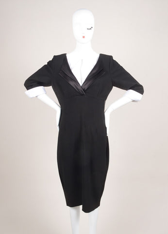Twilley Atelier New With Tags Black and White Crepe Silk Long Sleeve Sheath Dress Frontview