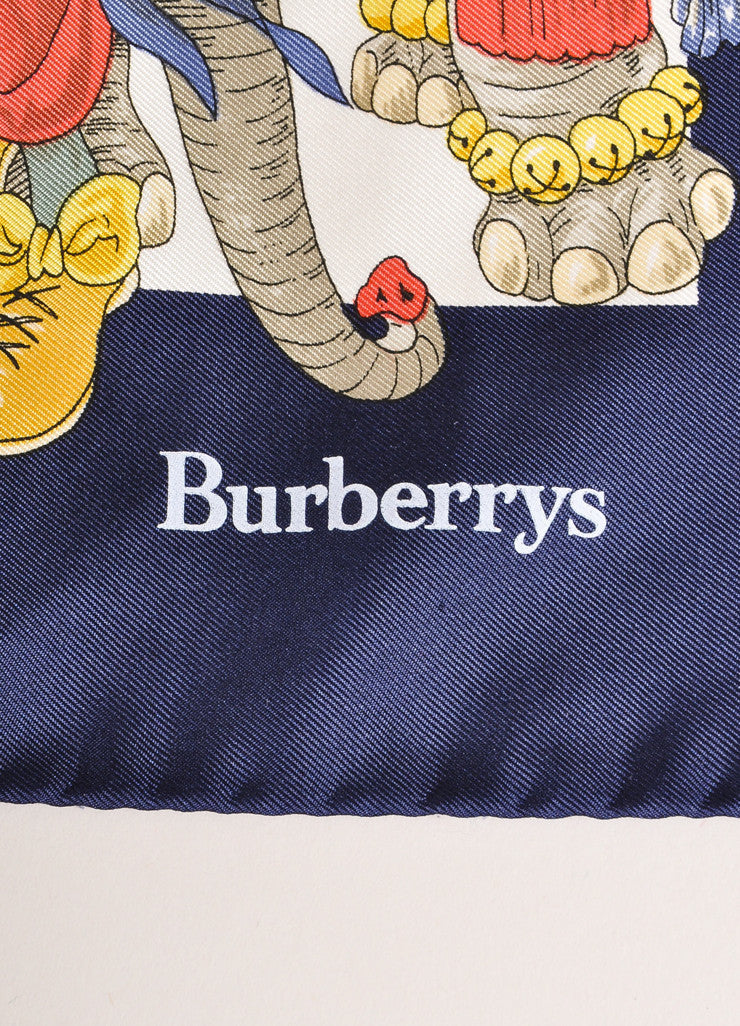 Burberry Navy, Cream, and Multicolor Circus Print Silk Scarf Brand