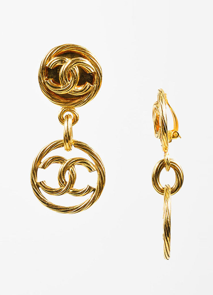 Gold Toned Chanel Ribbed 'CC' Logo Circle Drop Clip On Earrings Sideview
