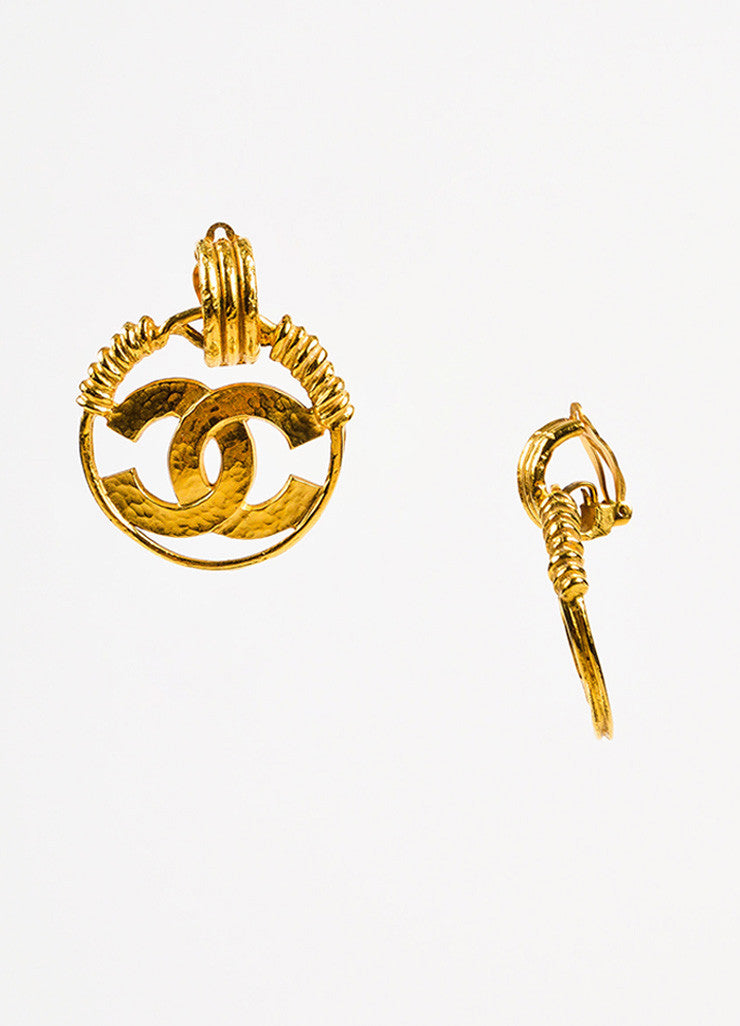 Chanel Gold Toned Hammered Coiled 'CC' Logo Hoop Clip On Earrings Sideview