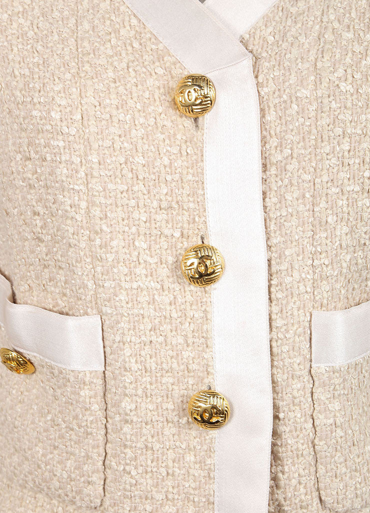 "Chanel Beige Wool and Silk Textured Knit ""CC"" Button Jacket Detail"