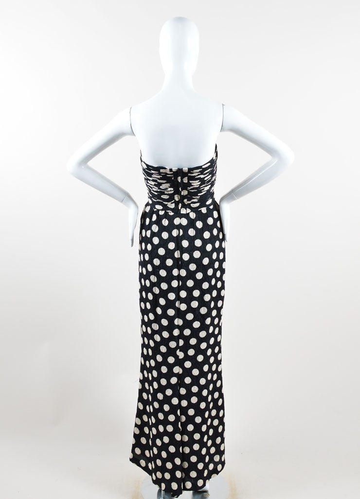 Chanel Black and Cream Polka Dot Ruched Hammered Silk Strapless Gown Backview