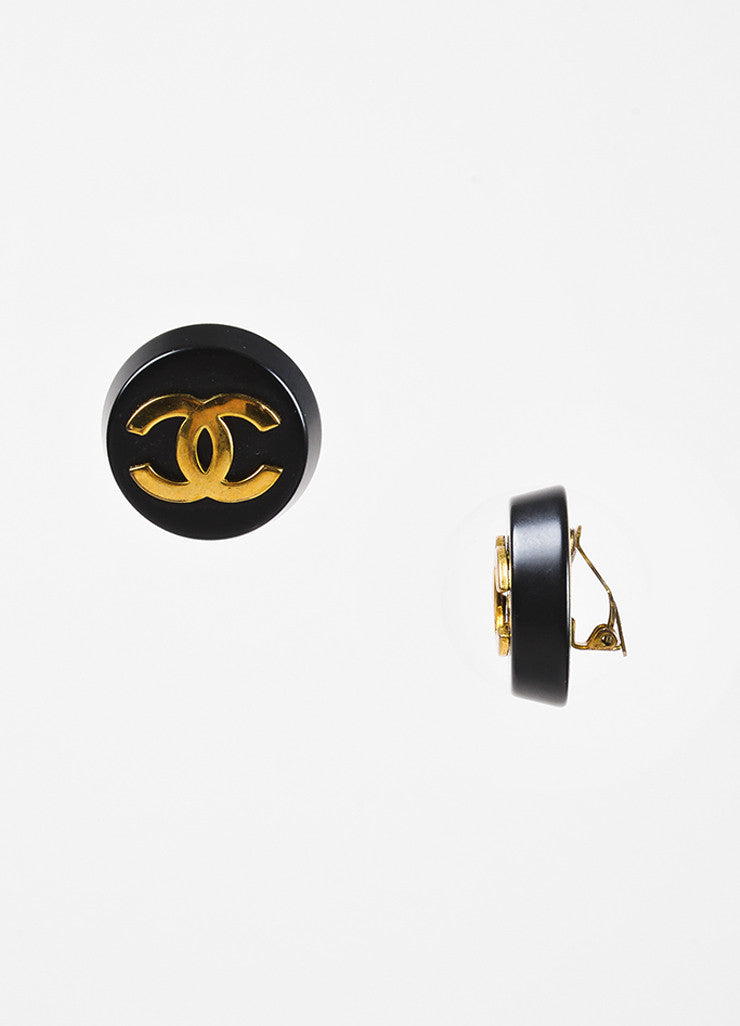 Black & Gold Chanel Oversized Round Button 'CC' Clip On Earrings Detail