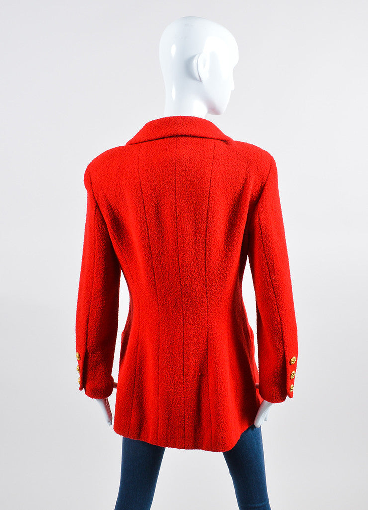 Red Chanel Wool Boucle Tailored Jacket Backview