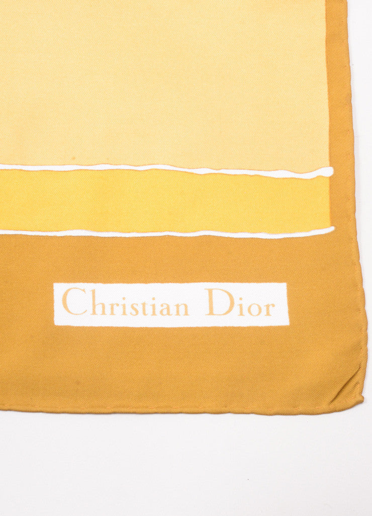 Christian Dior Brown, Orange, and Yellow Block Print Silk Square Scarf Brand